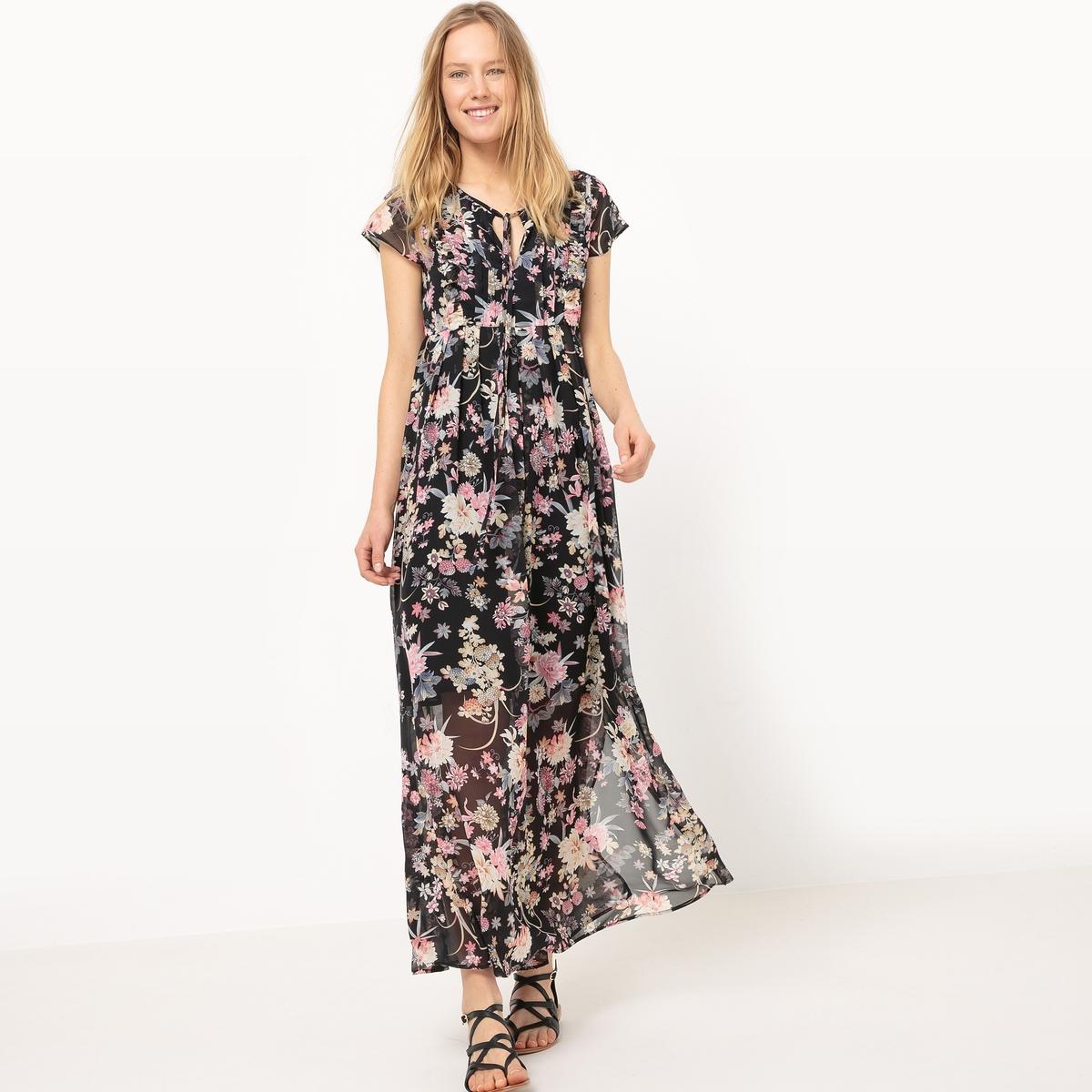 Платье длинное с воланами и цветочным рисунком