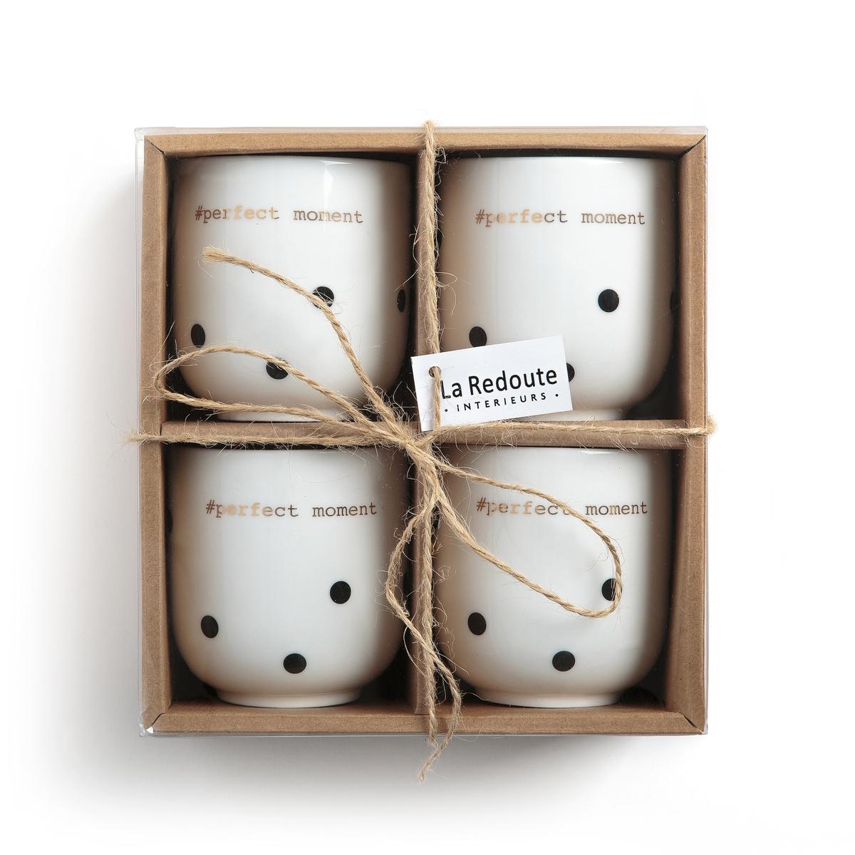 Комплект из 4 фарфоровых чашек для эспрессо, KUBLERОписание:4 кружки для эспрессо из фарфора, Kubler  . Изящный и благородный рисунок в горох чёрного цвета и золотистая надпись #Perfect moment.Характеристики 4 кружек для эспрессо из фарфора, Kubler Kubler   : •  Чашки для эспрессо из фарфора •  Диаметр : 6 см •  Высота : 7 см •  Вместимость : 150 мл •  Не подходят для мытья в посудомоечной машине •  Не подходят для микроволновой печи •  Продаются в комплекте из 4 штукНайдите комплект посуды Kubler на нашем сайте laredoute.ru<br><br>Цвет: в горошек черный/фон белый