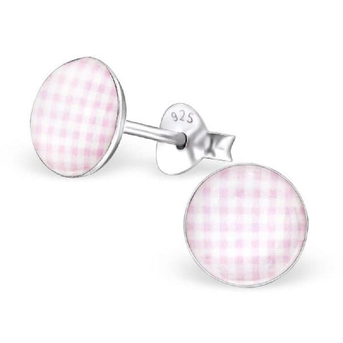 Boucles d'oreilles Motif Vichy Rose Clair Argent 925