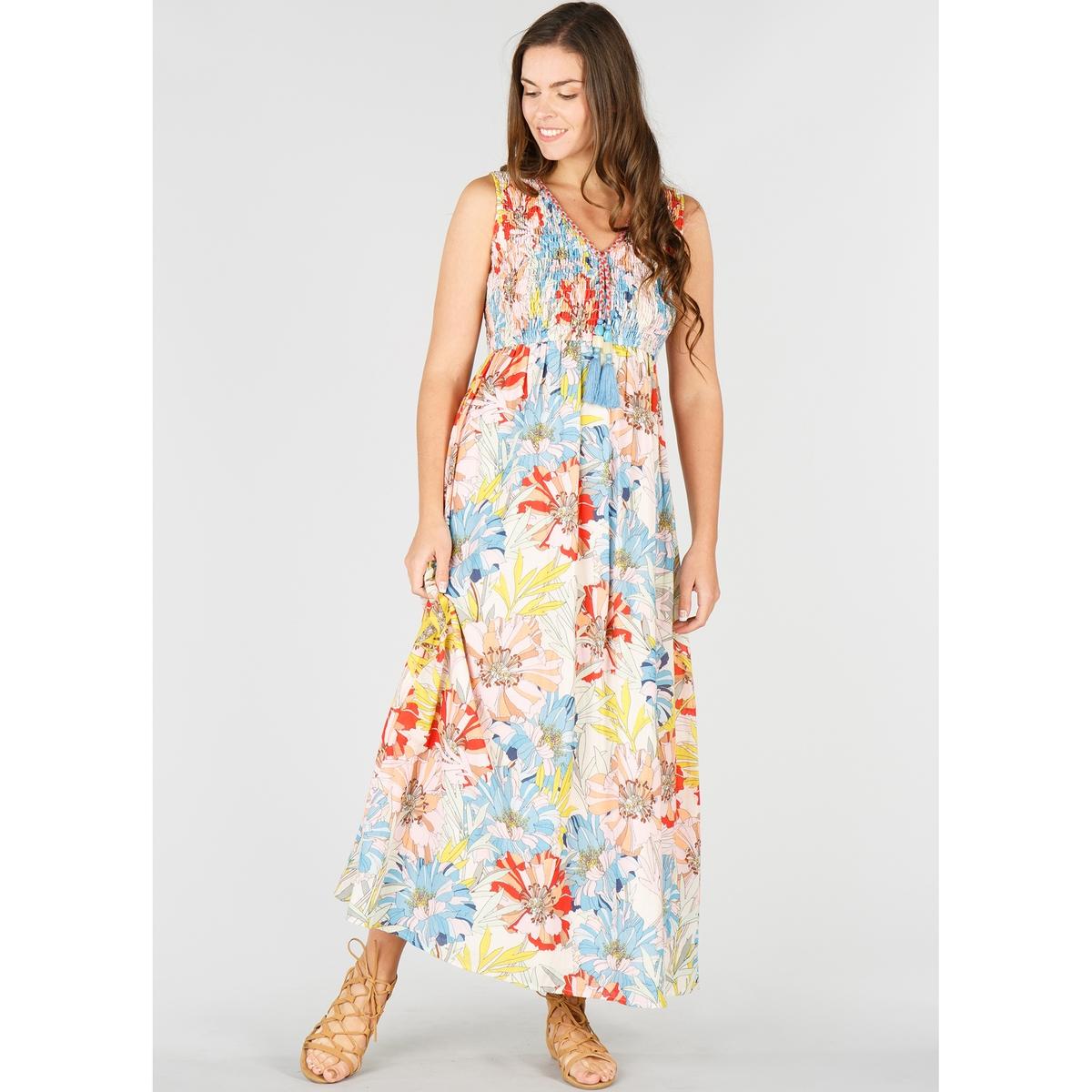Платье длинное расклешенное с цветочным рисунком, без рукавов
