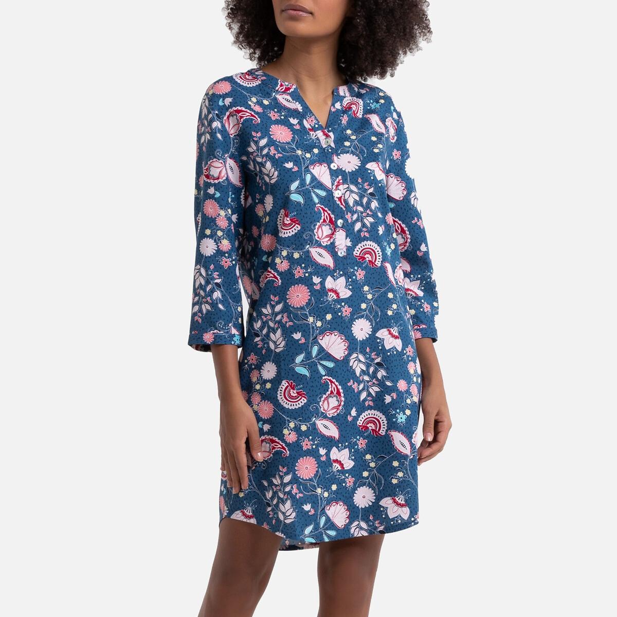 Ночная LaRedoute — Рубашка с принтом из вискозы 48 (FR) - 54 (RUS) синий