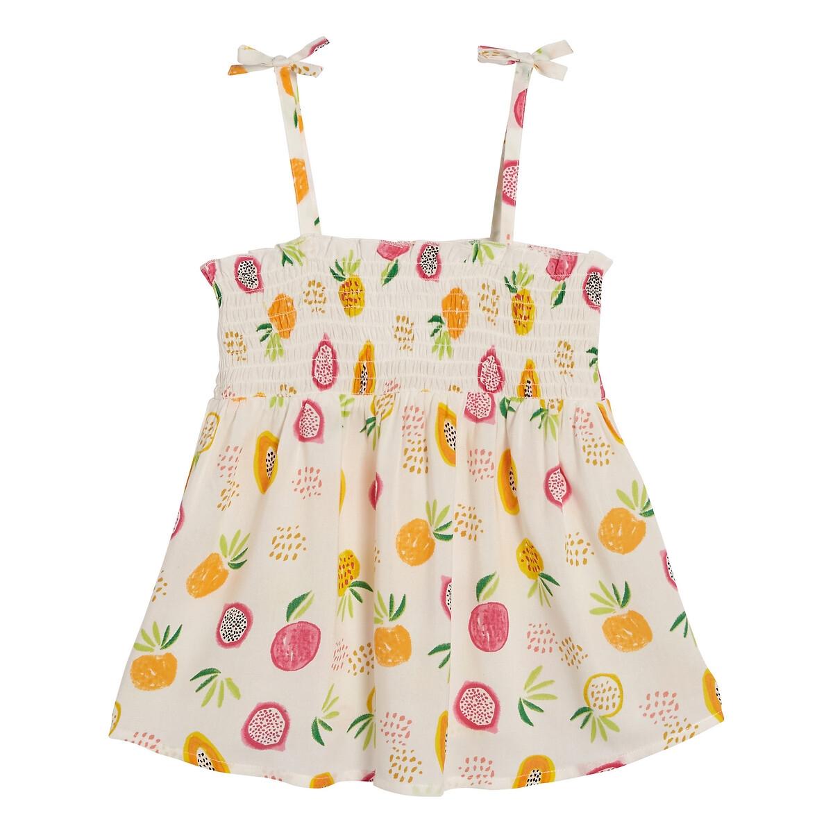 Блузка LaRedoute На тонких бретелях с принтом 3-12 лет 12 другие платье la redoute расклешенное на тонких бретелях с рисунком 3 12 лет 8 лет 126 см розовый