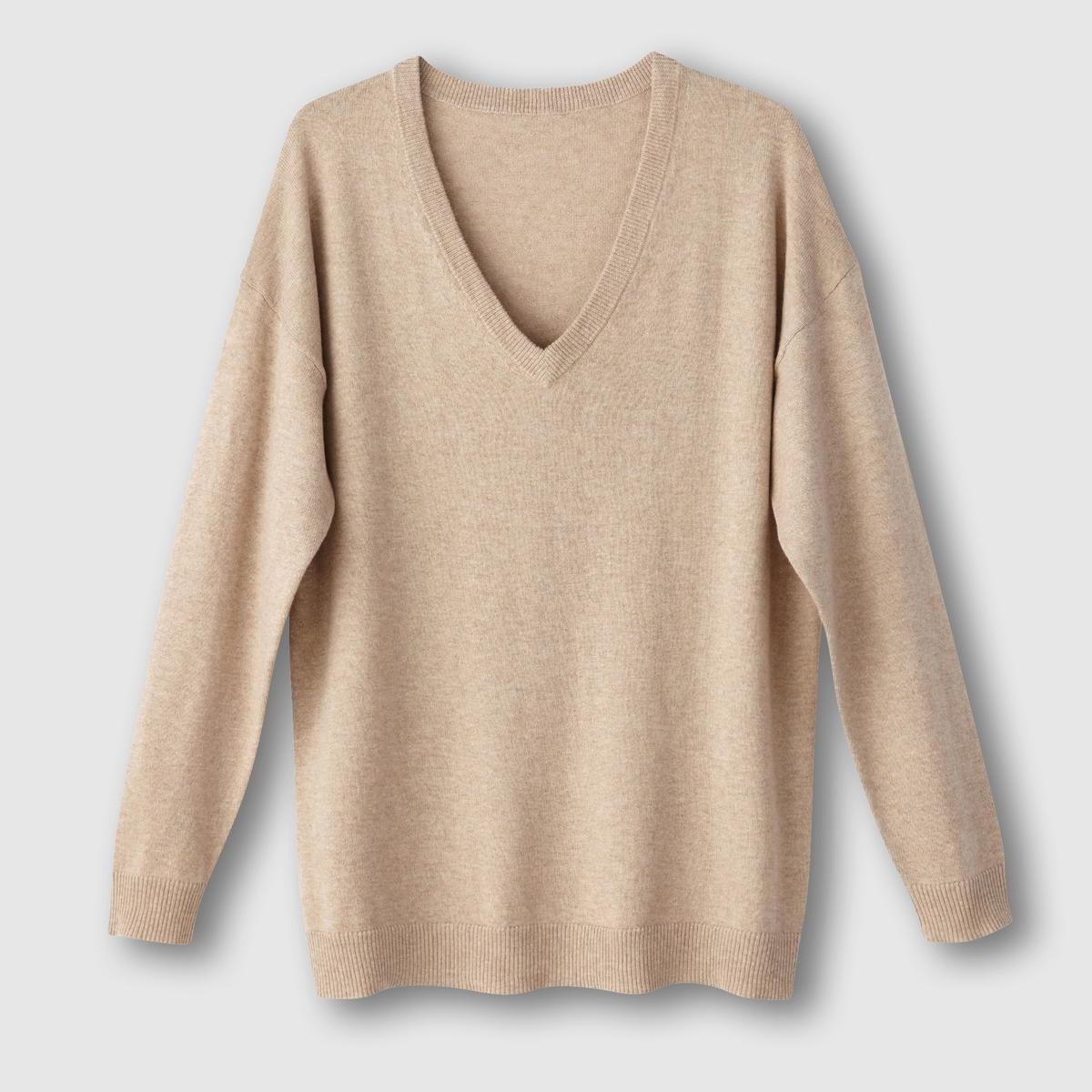 Пуловер с V-образным вырезом из хлопка и кашемираСостав и описаниеМатериал: трикотаж, 95% хлопок, 5% кашемир.Длина: 65 смМарка: R essentiel.   УходРучная стиркаСухая (химическая) чистка разрешена.Стирать и гладить с изнаночной стороныГладить при умеренной температуре<br><br>Цвет: бежевый меланж,красный,розовый коралловый,серый меланж,черный<br>Размер: 42/44 (FR) - 48/50 (RUS).46/48 (FR) - 52/54 (RUS).34/36 (FR) - 40/42 (RUS).34/36 (FR) - 40/42 (RUS).50/52 (FR) - 56/58 (RUS).38/40 (FR) - 44/46 (RUS)