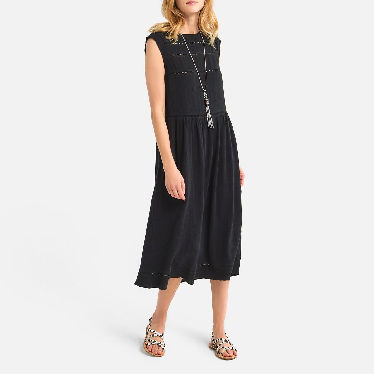 Платье La Redoute Без рукавов вставки с неполным переплетением 36 (FR) - 42 (RUS) черный платье la redoute радужное estelle 36 fr 42 rus черный