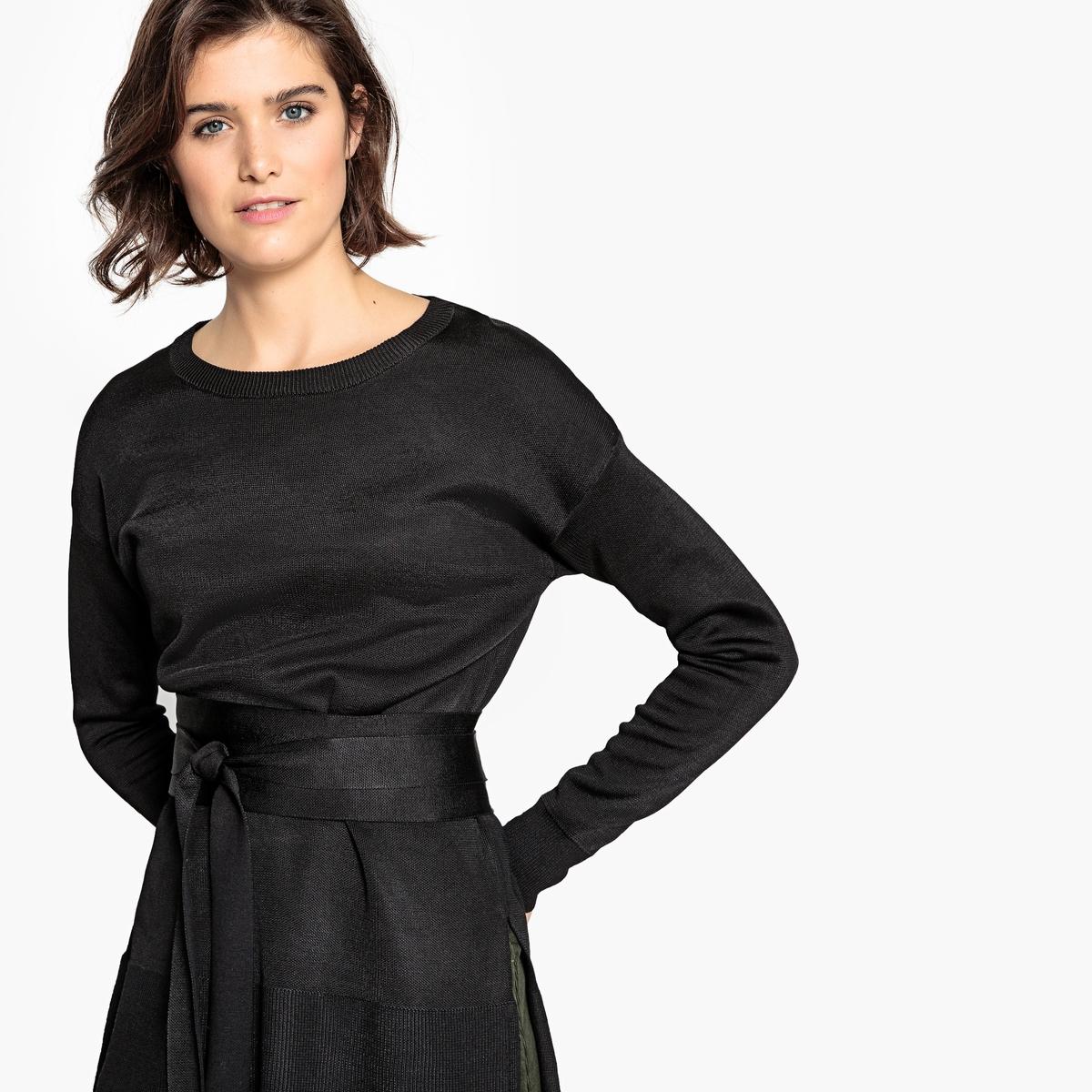 Пуловер La Redoute С круглым вырезом и поясом S черный пуловер la redoute с круглым вырезом в полоску из плотного трикотажа s красный