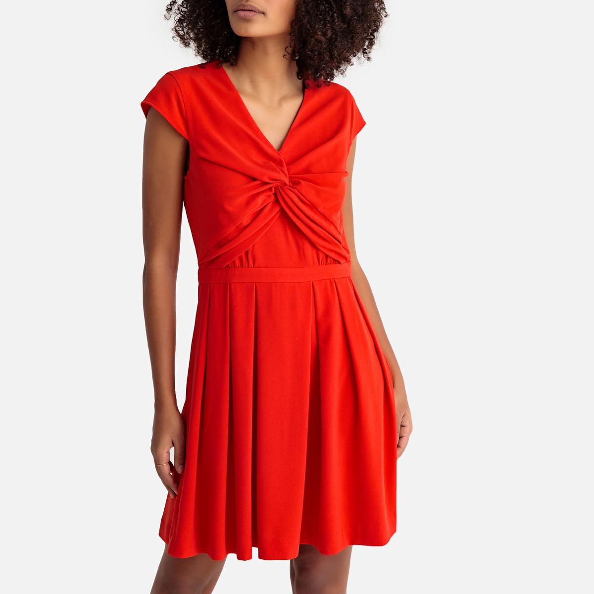 Платье La Redoute Расклешенное длина миди S красный платье миди la redoute с запахом струящееся m синий