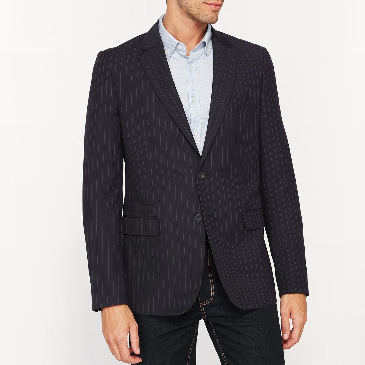 Жакет костюмный узкого покроя в полоскуСостав и описание :Основной материал : 70% полиэстера, 30% вискозыПодкладка : 100% полиэстерМарка :      R ?ditionДлина : 75смУход :Рекомендуется сухая чистка<br><br>Цвет: темно-синий в полоску серый меланж