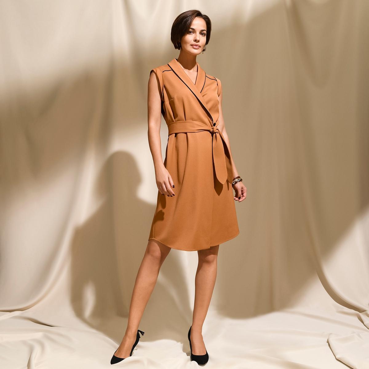Imagen principal de producto de Vestido cruzado con cuello esmoquin y manga corta - Anne weyburn