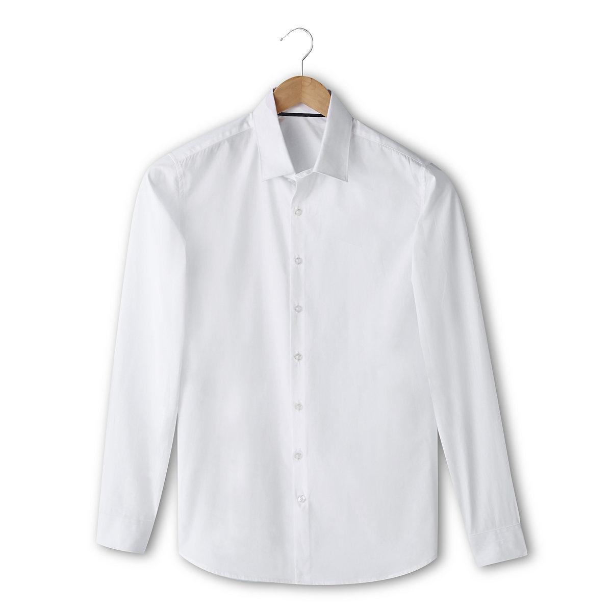 Рубашка однотонная с длинными рукавами, узкий покройРубашка с длинными рукавами R Essentiel. Узкий покрой (облегающий). 100% хлопка. Свободные уголки воротника с контрастной внутренней частью. Длина ок. 77 см.<br><br>Цвет: белый