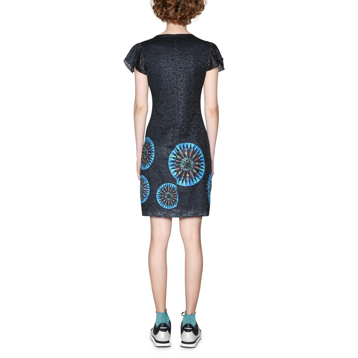 Платье короткое прямое с графическим рисункомОписание:Детали •  Форма : прямая •  Укороченная модель•  Короткие рукава    •  Круглый вырез •  Графический рисунокСостав и уход •  1% эластана, 99% полиэстера •  Следуйте рекомендациям по уходу, указанным на этикетке изделия<br><br>Цвет: рисунок темно-синий