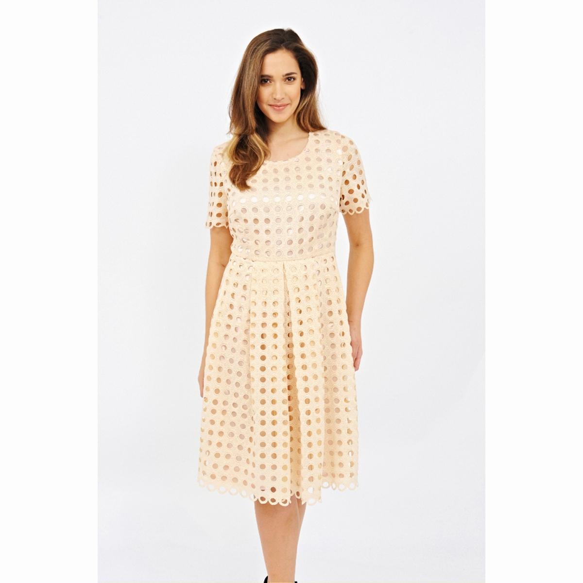Платье с короткими рукавамиПлатье с короткими рукавами LOVEDROBE. Длина ок. 104 см . 100% полиэстер<br><br>Цвет: бежевый<br>Размер: 58/60 (FR) - 64/66 (RUS)