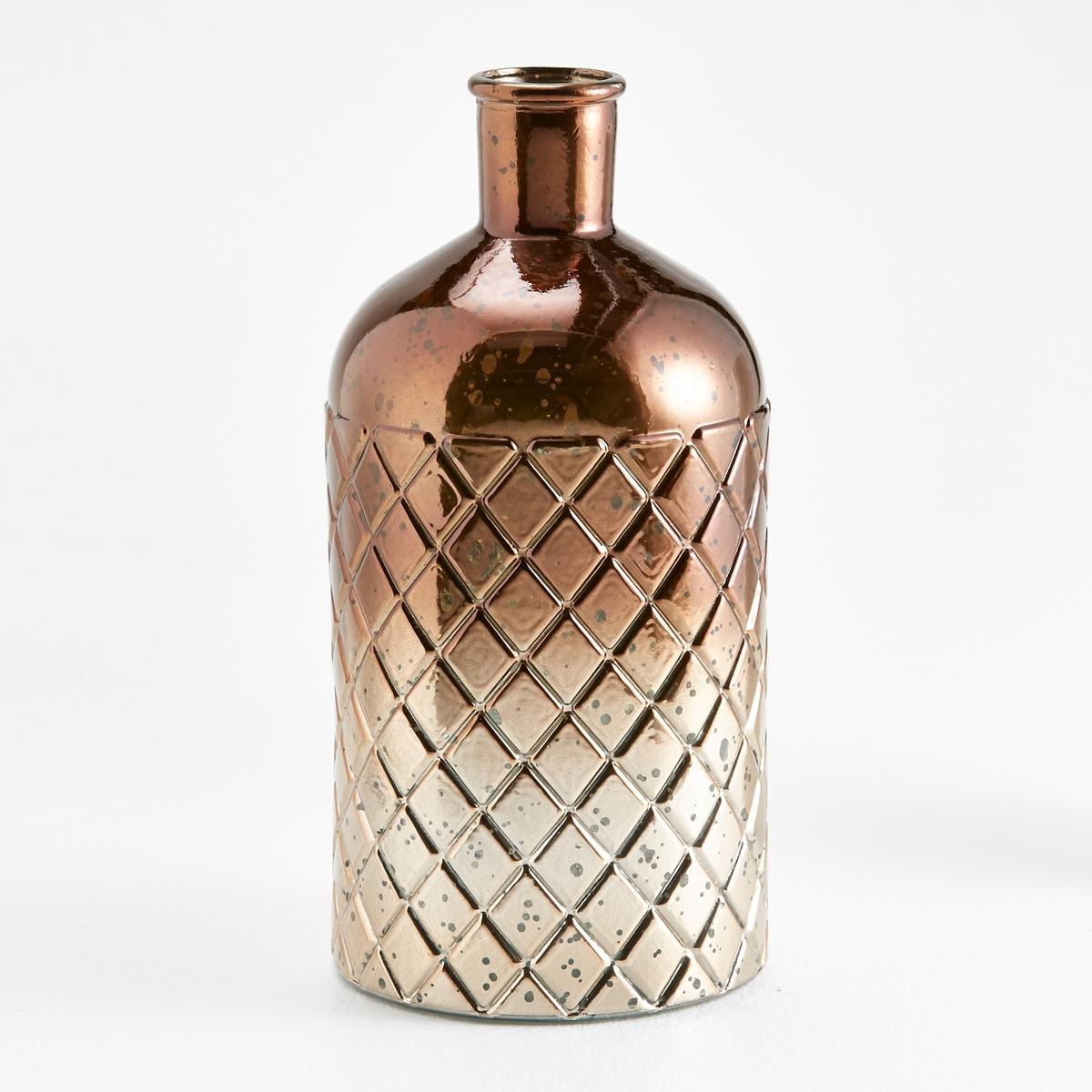 Ваза в форме бутыли с выгравированным бриллиантом, GitterХарактеристики вазы-бутыли Gitter :Из вторичного стекла с выгравированным бриллиантом.Размеры вазы-бутыли Gitter :Высота : 28 смДиаметр : 14 см.<br><br>Цвет: золотисто-каштановый