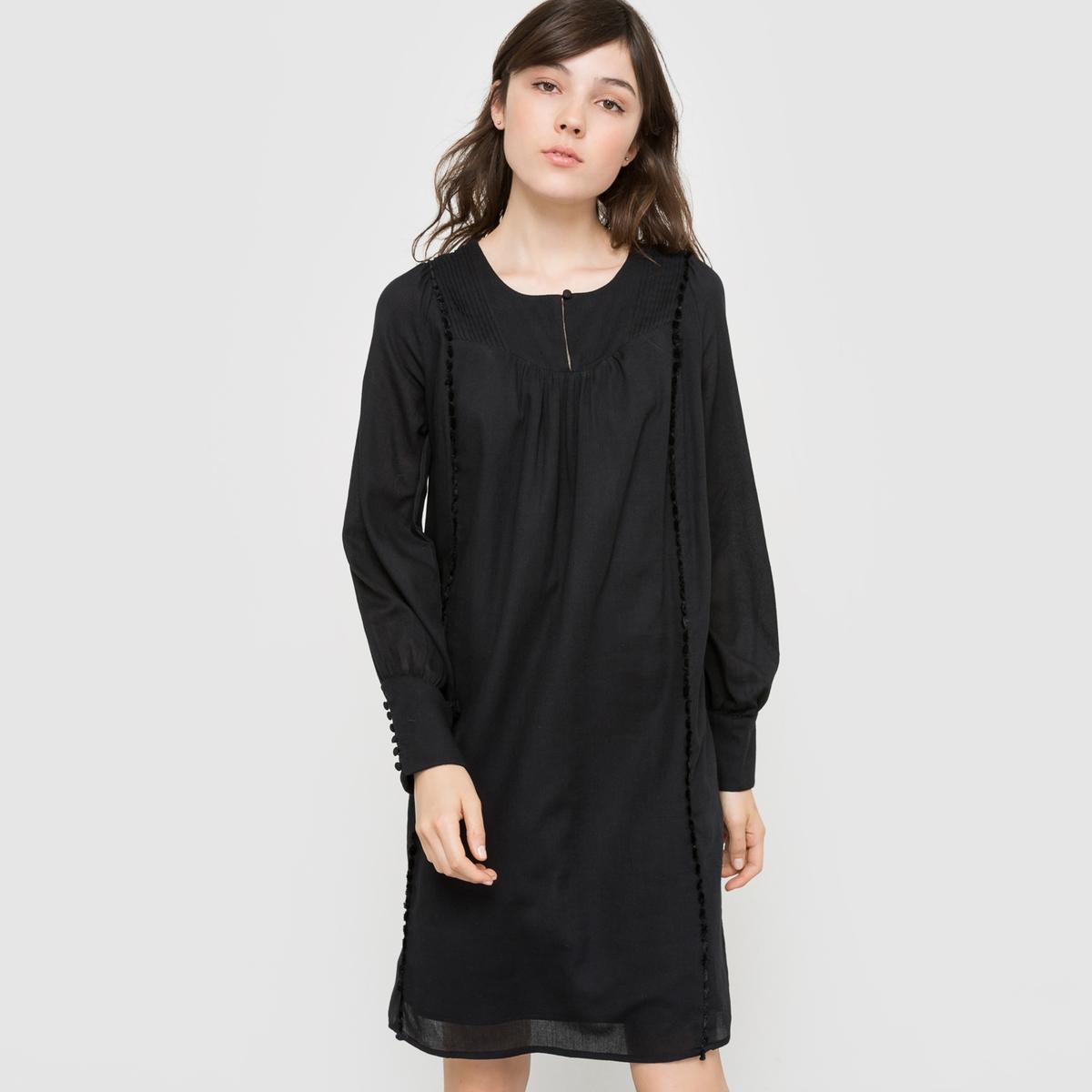 Платье плиссированное из хлопкаПлатье в романтическом стиле из струящейся ткани. Длинные рукава. Круглый вырез с вырезом-капелькой. Плиссировка под линией отреза. На подкладке.Состав и описаниеМатериал :              100% хлопкового крепаПодкладка: 100% хлопокДлина : 90 смМарка : R studio.Уход :Машинная стирка при 30 °C с вещами схожих цветовСтирать и гладить с изнаночной стороныГладить при умеренной температуре<br><br>Цвет: темно-зеленый,черный<br>Размер: 40 (FR) - 46 (RUS)