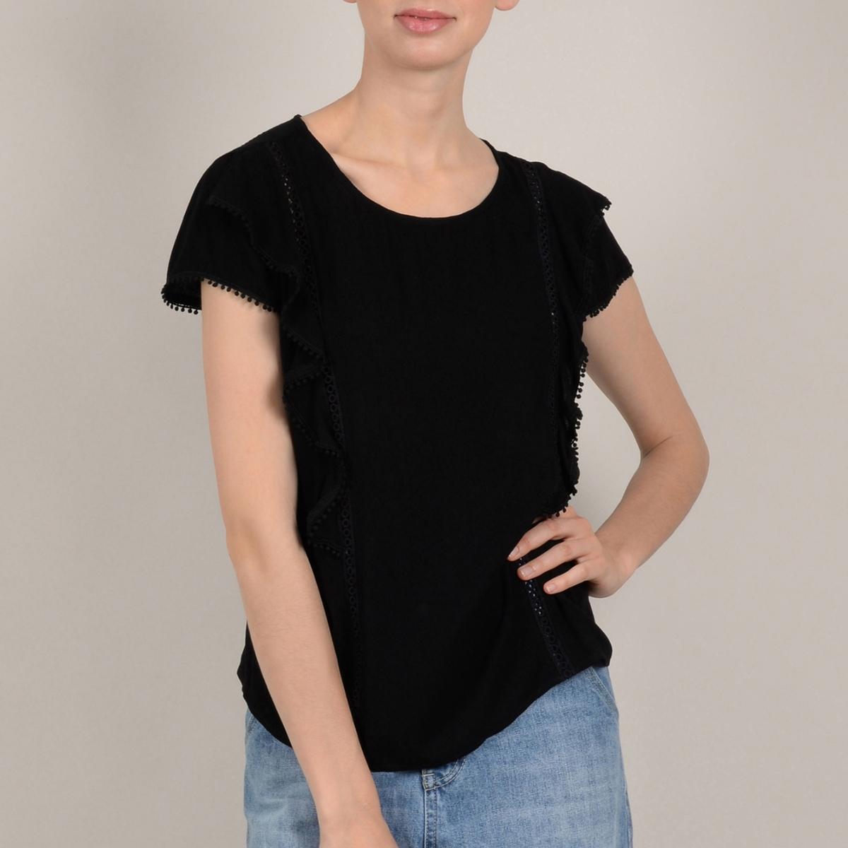 Блузка La Redoute С короткими рукавами и воланами на груди M черный