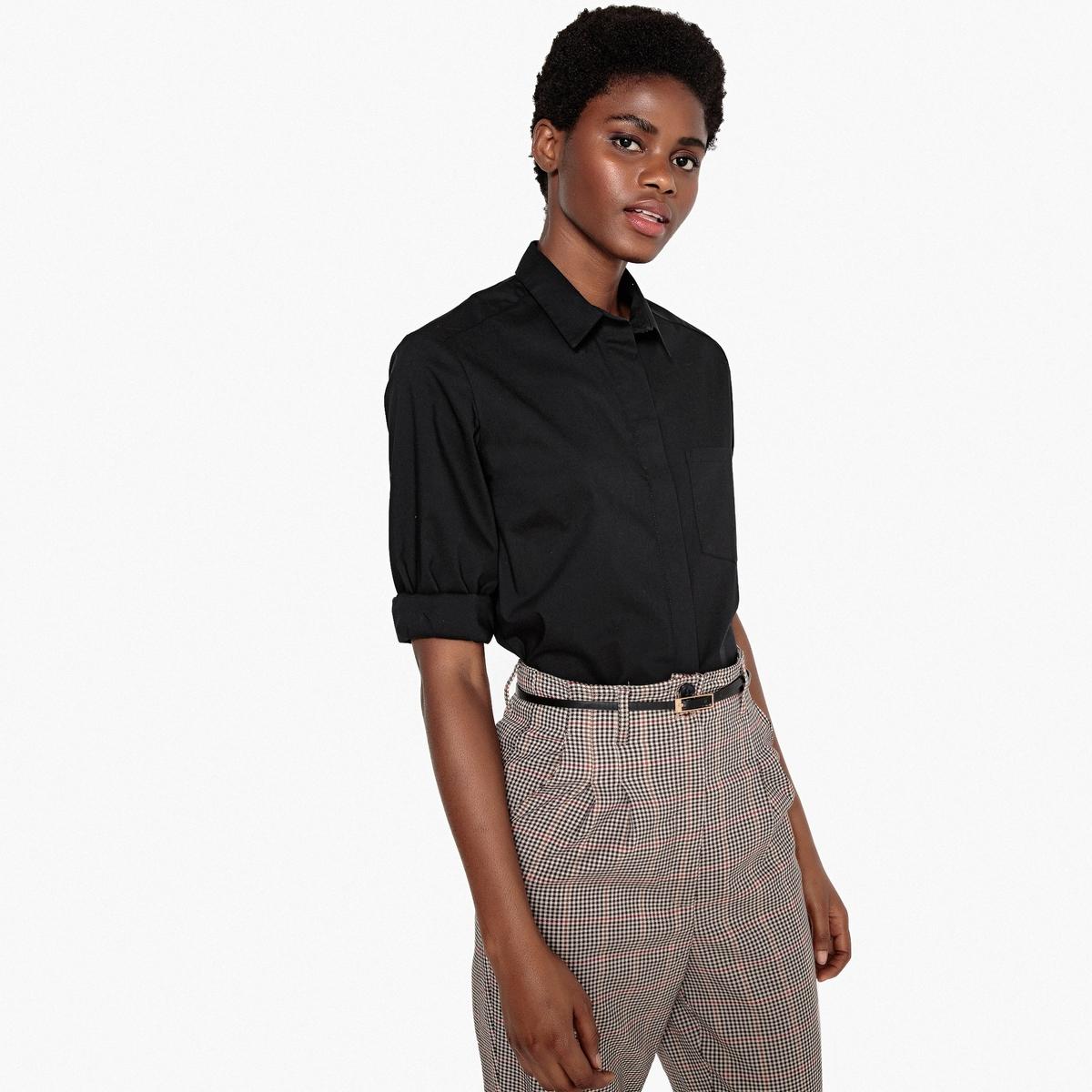 Рубашка прямого покроя с длинными рукавами рубашка прямого покроя большого размера с контрастными пуговицами