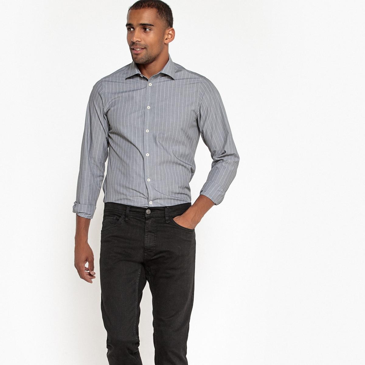 Рубашка прямая в полоску с длинными рукавами рубашка прямая большого размера в клетку