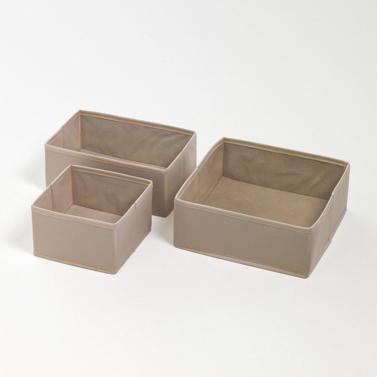Комплект из 3 складных коробок для хранения вещей, 3 размераХарактеристики коробки для хранения вещей :- Из твердого картона, покрытого полиэстером, цвет экрю.Коробки поставляются готовыми к сборке, инструкция прилагается.Размеры :- Ш.16 x В.10 x Г.16 см.- Ш.25 x В.10 x Г.25 см.- Ш.25 x В.10 x Г.16 см.<br><br>Цвет: серо-коричневый каштан