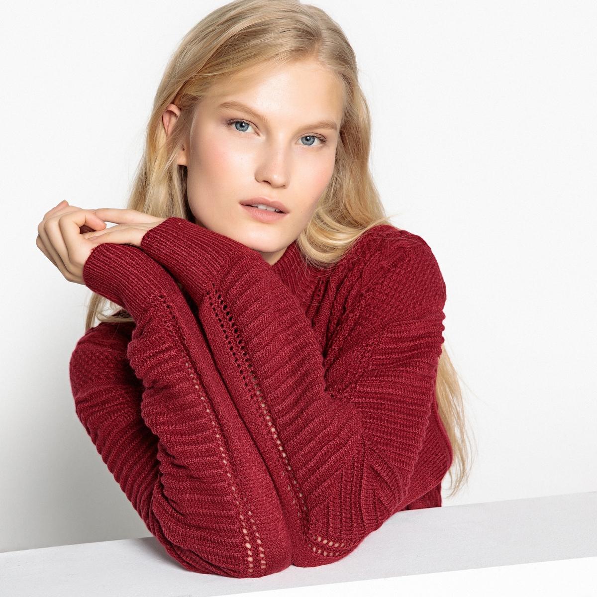 Пуловер La Redoute С воротником-стойкой из плотного трикотажа XL красный