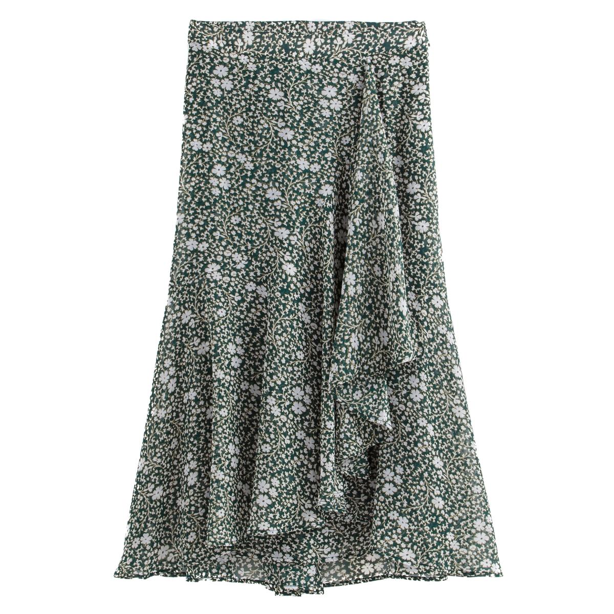 Falda cruzada y larga con estampado