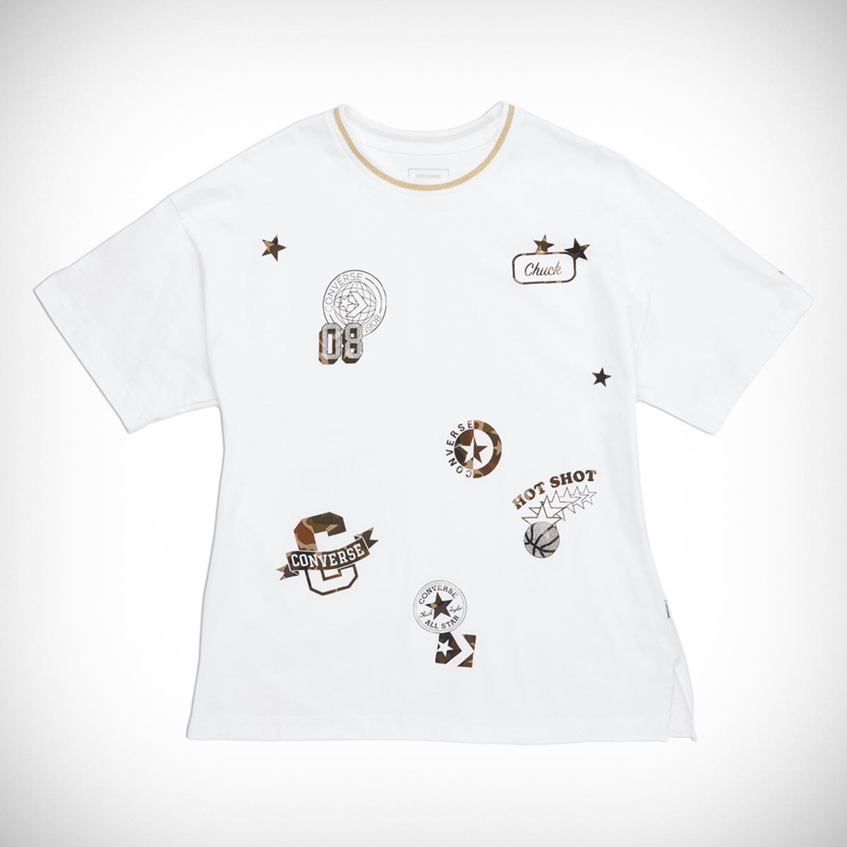 Camiseta loose, cuello redondo, manga corta, parch