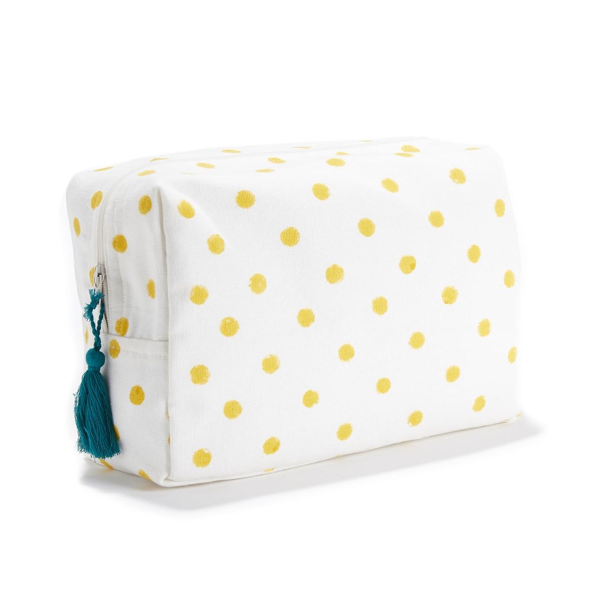 Косметичка в горошек DOTS women travel cosmetic polka dots makeup double layer case pouch organizer bag