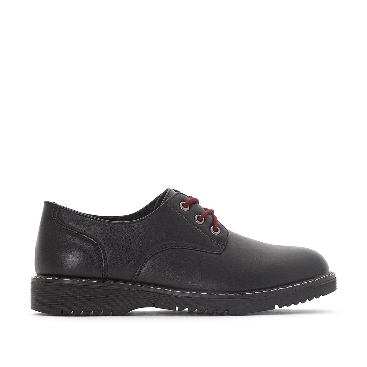 Ботинки-дерби на рифленой подошве, размеры 30-40 ботинки дерби синтетические