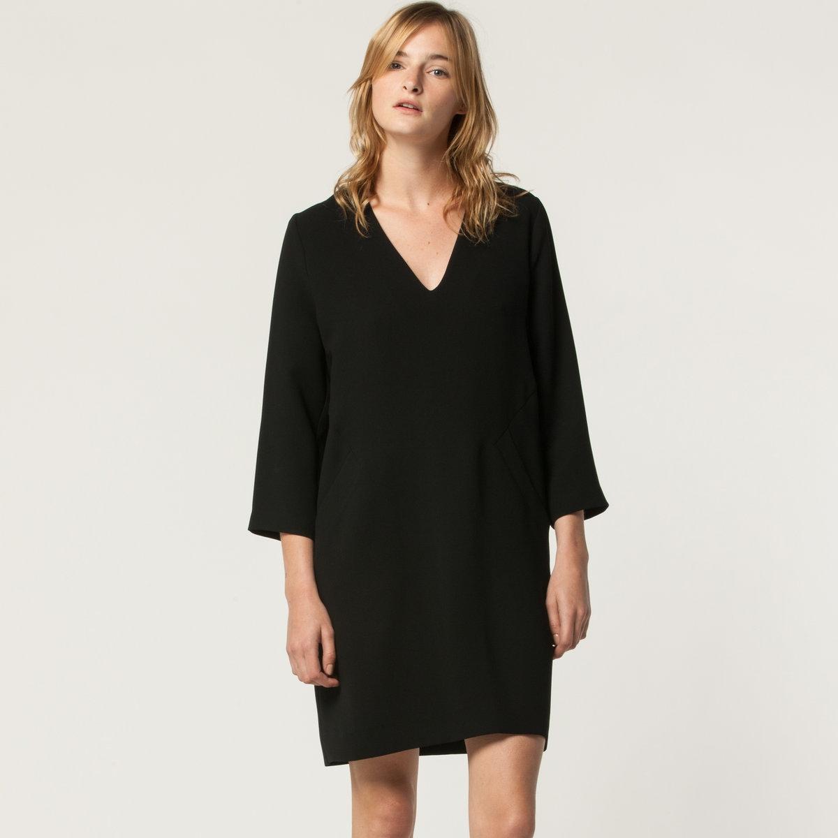 Платье PERINEПлатье PERINE от TOUPY, 100% полиэстер. Рукава 3/4, V-образный вырез. 2 кармана.<br><br>Цвет: кобальтовый синий,черный<br>Размер: S.XL
