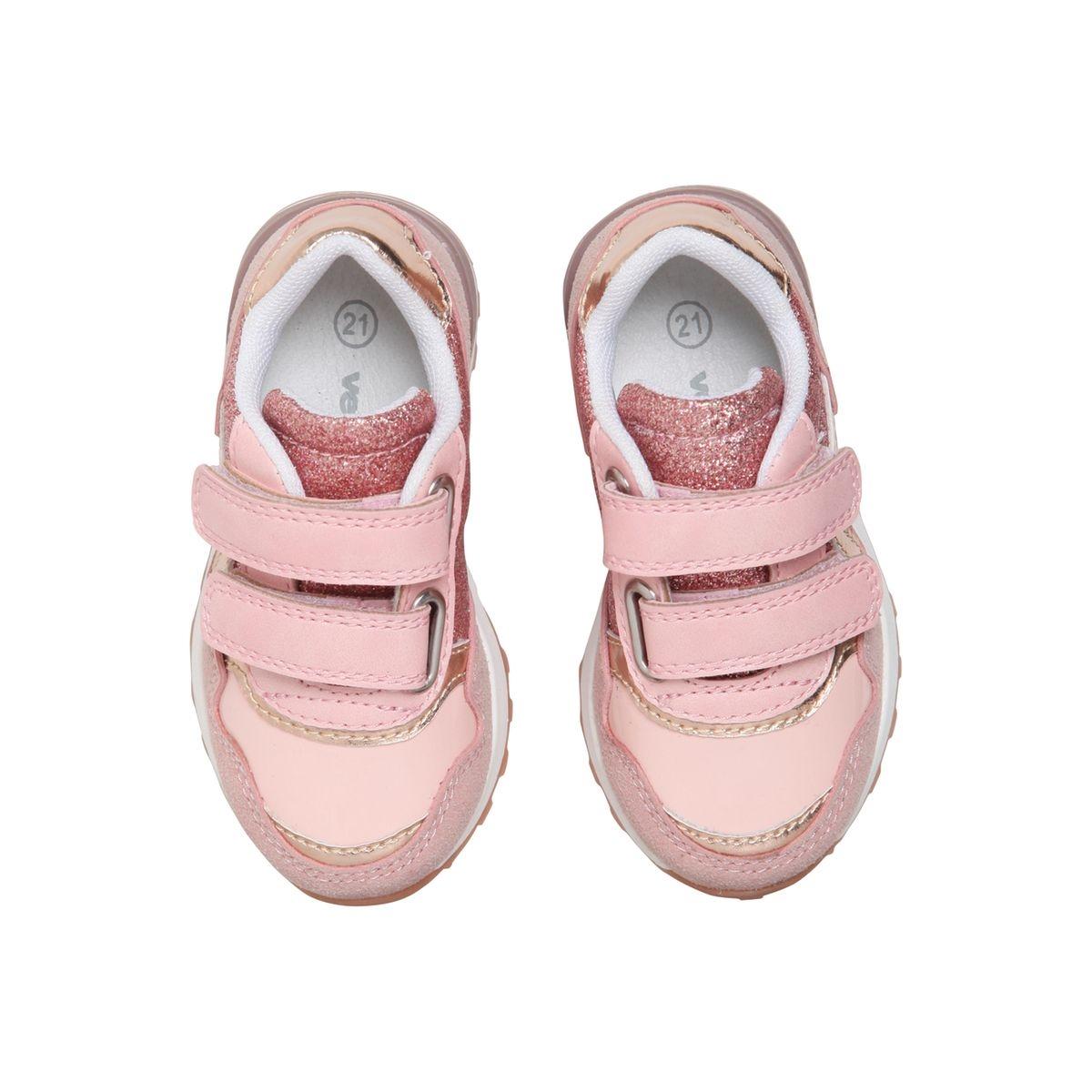 Baskets scratchées bébé fille esprit running