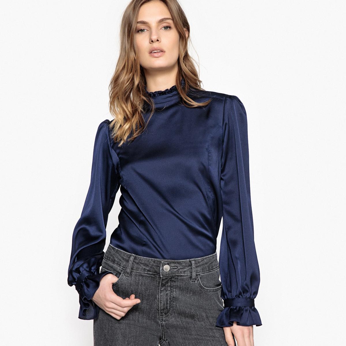 Блузка однотонная с воротником-стойкой и длинными рукавами от La Redoute