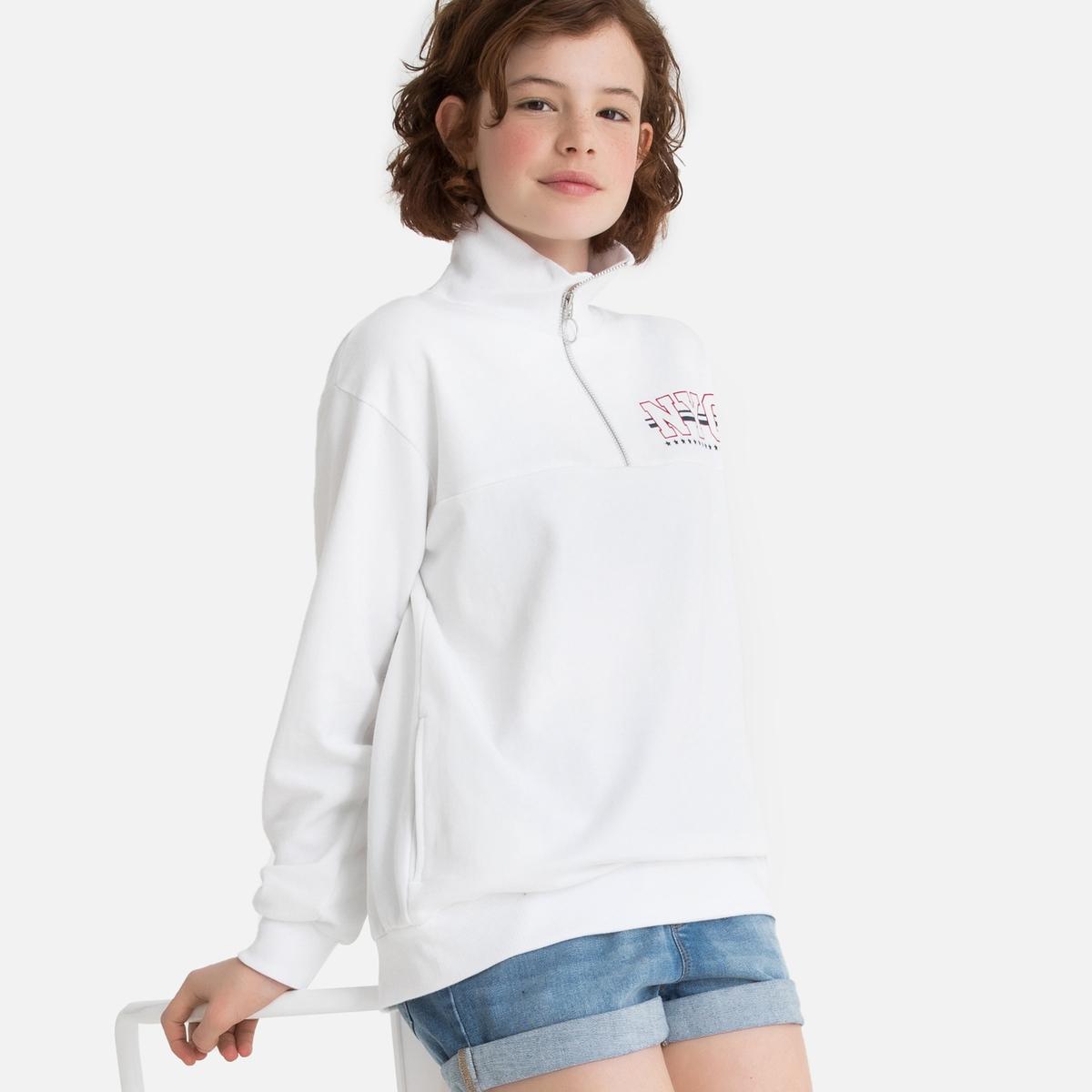 цена Свитшот La Redoute На молнии с воротником-стойкой 10 лет - 138 см белый онлайн в 2017 году