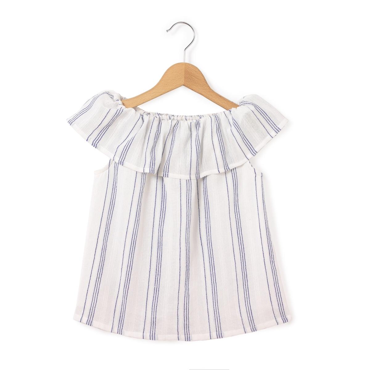Блузка однотонная с круглым вырезом без рукавов