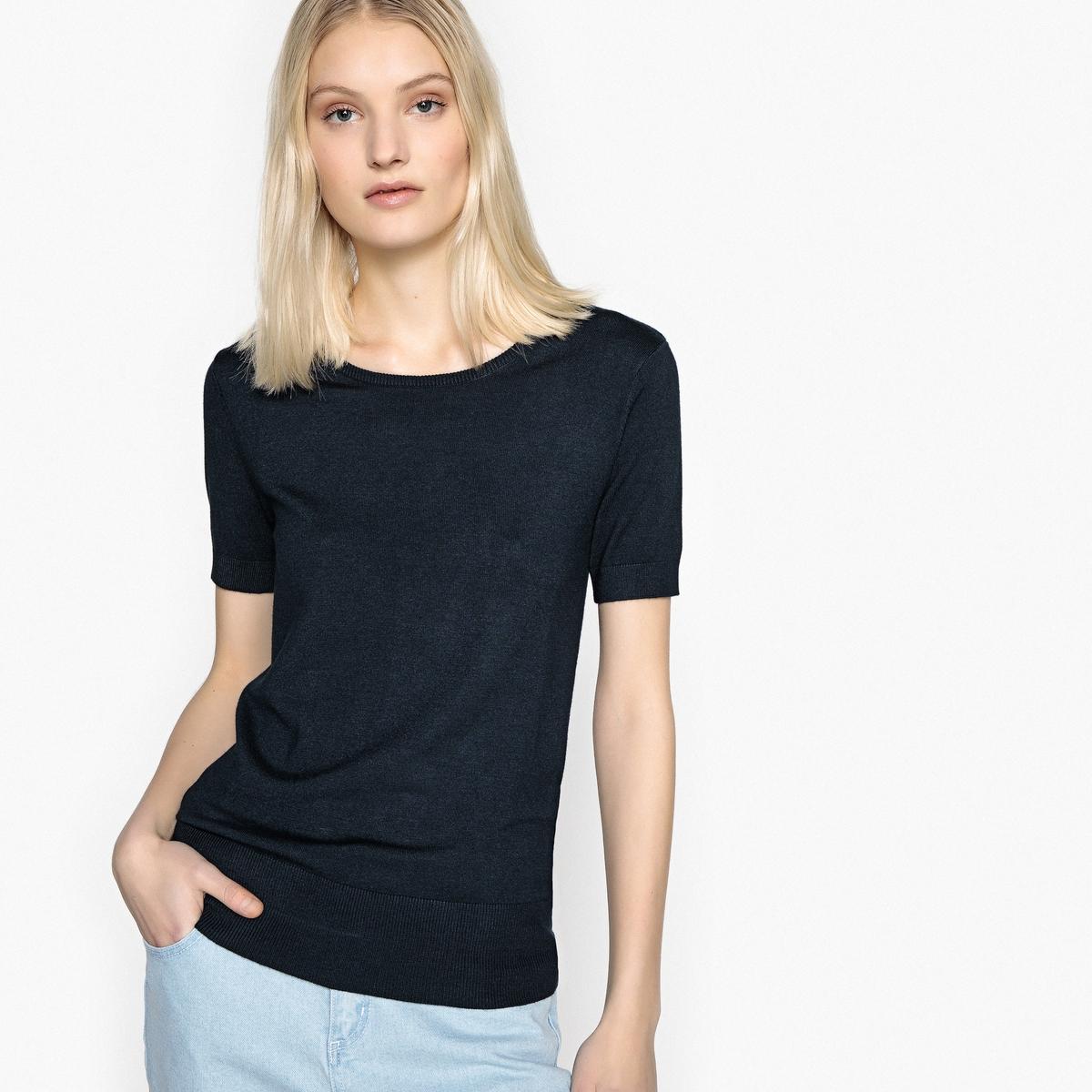 Пуловер с круглым вырезом и короткими рукавами
