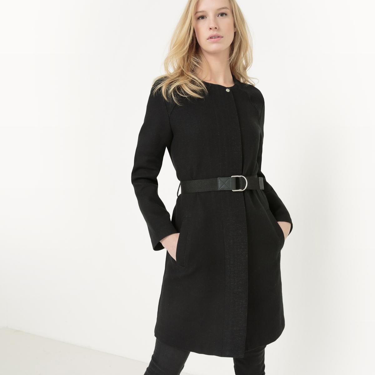 Пальто средней длины, с поясом