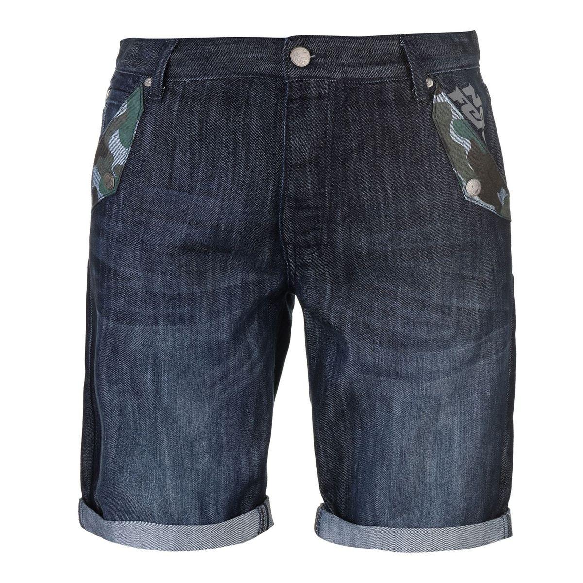 Short en jean denim imprimé