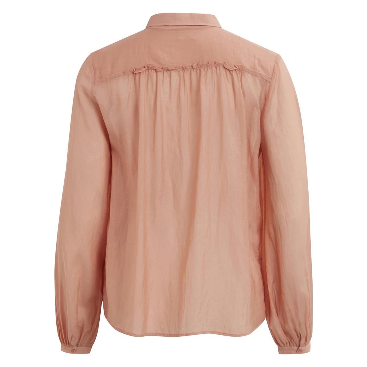 Рубашка из вуали VIPOPULAR L/S SHIRTРубашка  VIPOPULAR L/S SHIRT от VILA . Рубашка из хлопковой вуали . Проймы с воланами . Рубашечный воротник со свободными уголками  . Застежка на пуговицы. Рукава с легким напуском на уровне манжет .Состав и описание :Материал : 100% хлопкаМарка : VILA.<br><br>Цвет: бледно-розовый<br>Размер: L