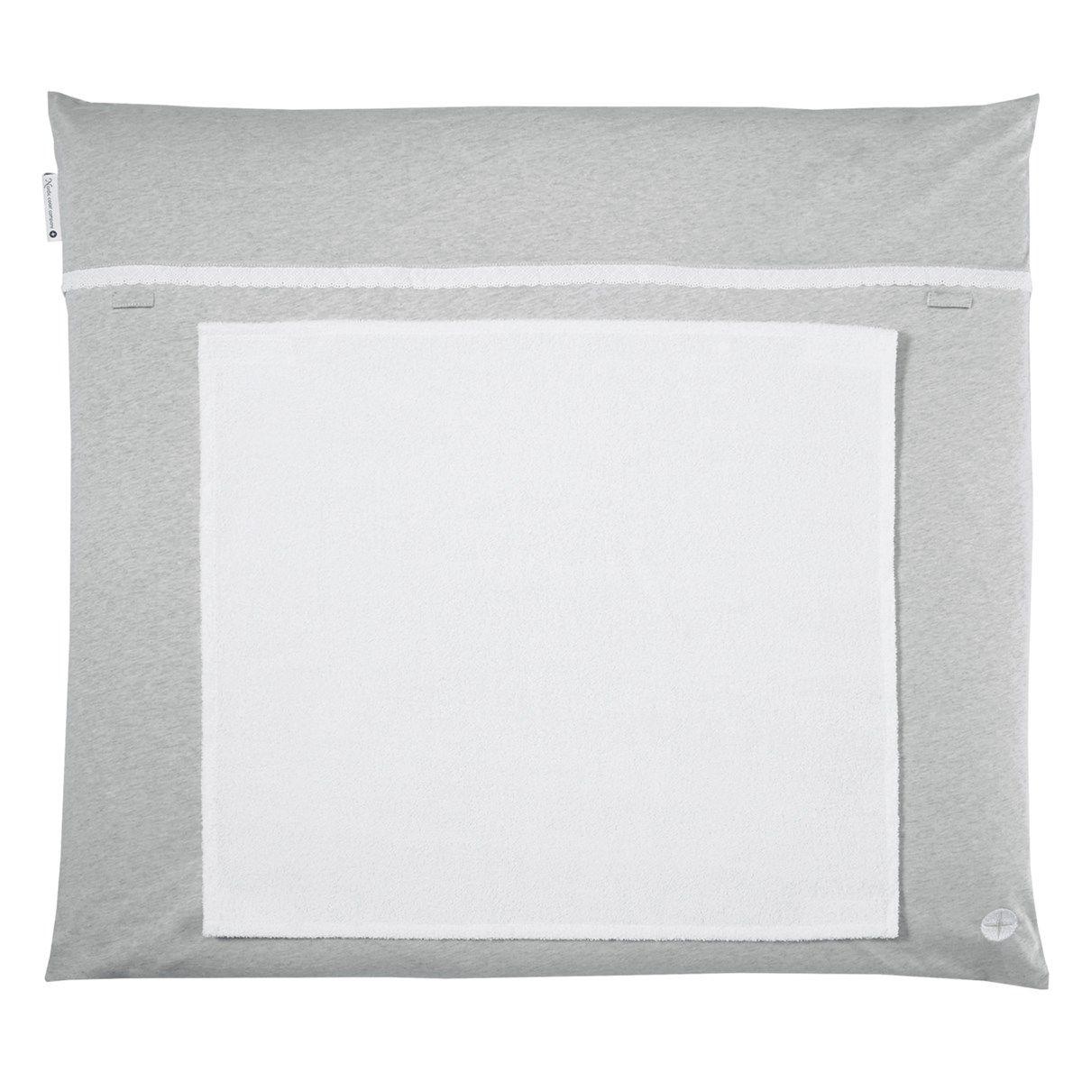 Matelas à langer 70x80cm lavable gris froufrou avec serviette imperméable