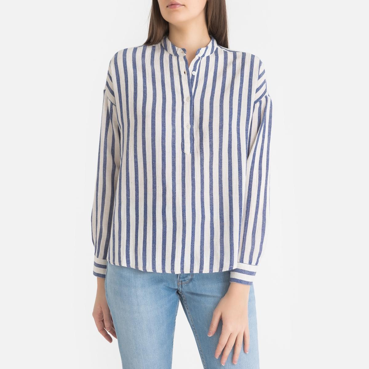 Блузка La Redoute В полоску с тунисским вырезом HORIZON L синий футболка с тунисским вырезом из 100% хлопка с эффектом фламме