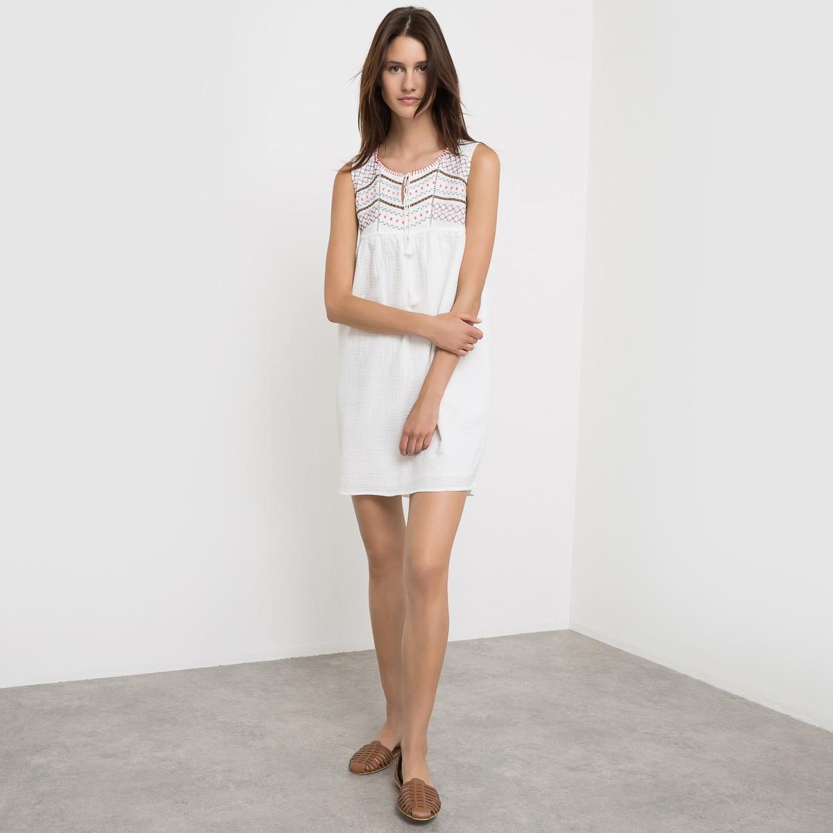Платье без рукавов, с вышивкой и завязками SUNCOO платье без рукавов suncoo