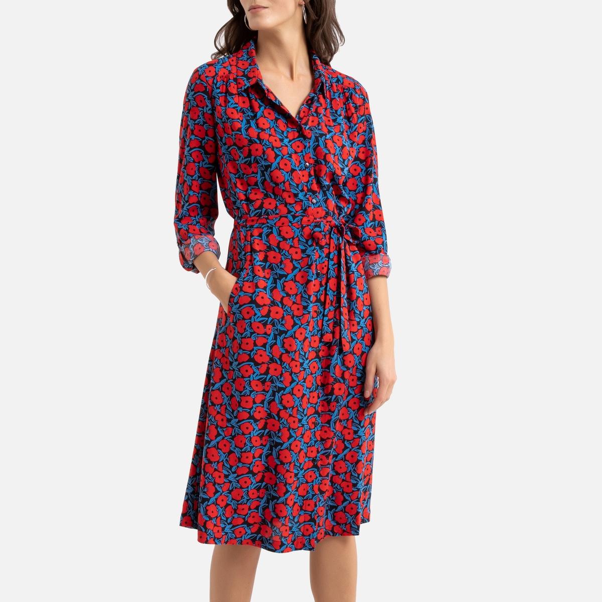 цена Платье La Redoute Длинное расклешенное с цветочным принтом 48 (FR) - 54 (RUS) черный онлайн в 2017 году