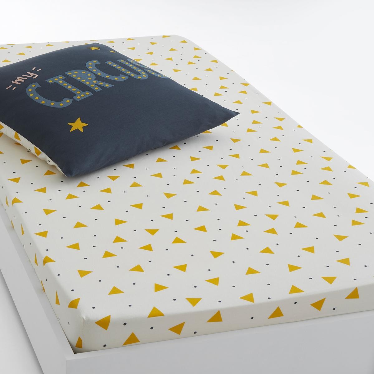 Простыня натяжная с рисунком, FUNAMBULEХарактеристики натяжной простыни Funambule :Рисунок в виде маленьких треугольников желтого цвета.100% хлопок, 57 нитей/см? : чем больше нитей/см?, тем выше качество материала.Машинная стирка при 60 °С.Всю коллекцию постельного белья Funambule вы можете найти на сайте la redoute.ru Знак Oeko-Tex® гарантирует, что товары прошли проверку и были изготовлены без применения вредных для здоровья человека веществ.Размер:90 x 190 см : 1-сп<br><br>Цвет: желтый