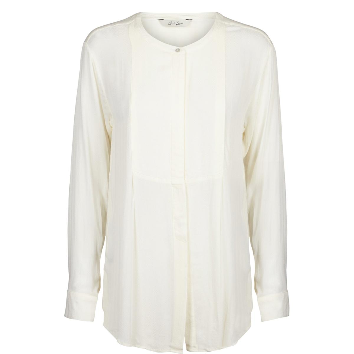 Рубашка с тунисским вырезом и длинными рукавамиСостав и описание : Материал : 100% вискозыМарка : And Less.      Закругленный низ. Супатная застежка на пуговицы.<br><br>Цвет: белый<br>Размер: 40 (FR) - 46 (RUS).38 (FR) - 44 (RUS)