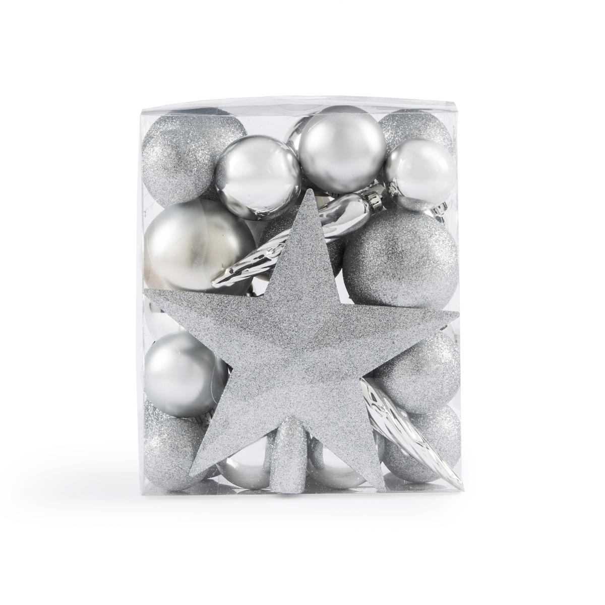 Набор La Redoute Из новогодних украшений серебристого цвета Caspar единый размер серебристый набор новогодних подвесных украшений b