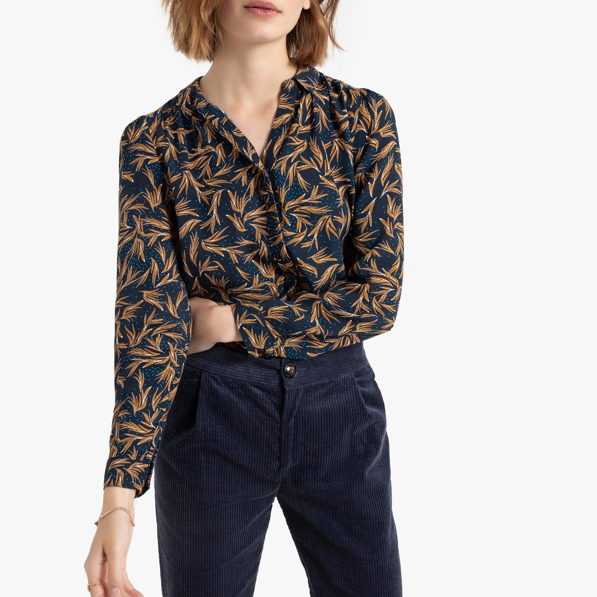 Рубашка La Redoute С длинными рукавами и растительным принтом 3(L) синий цена