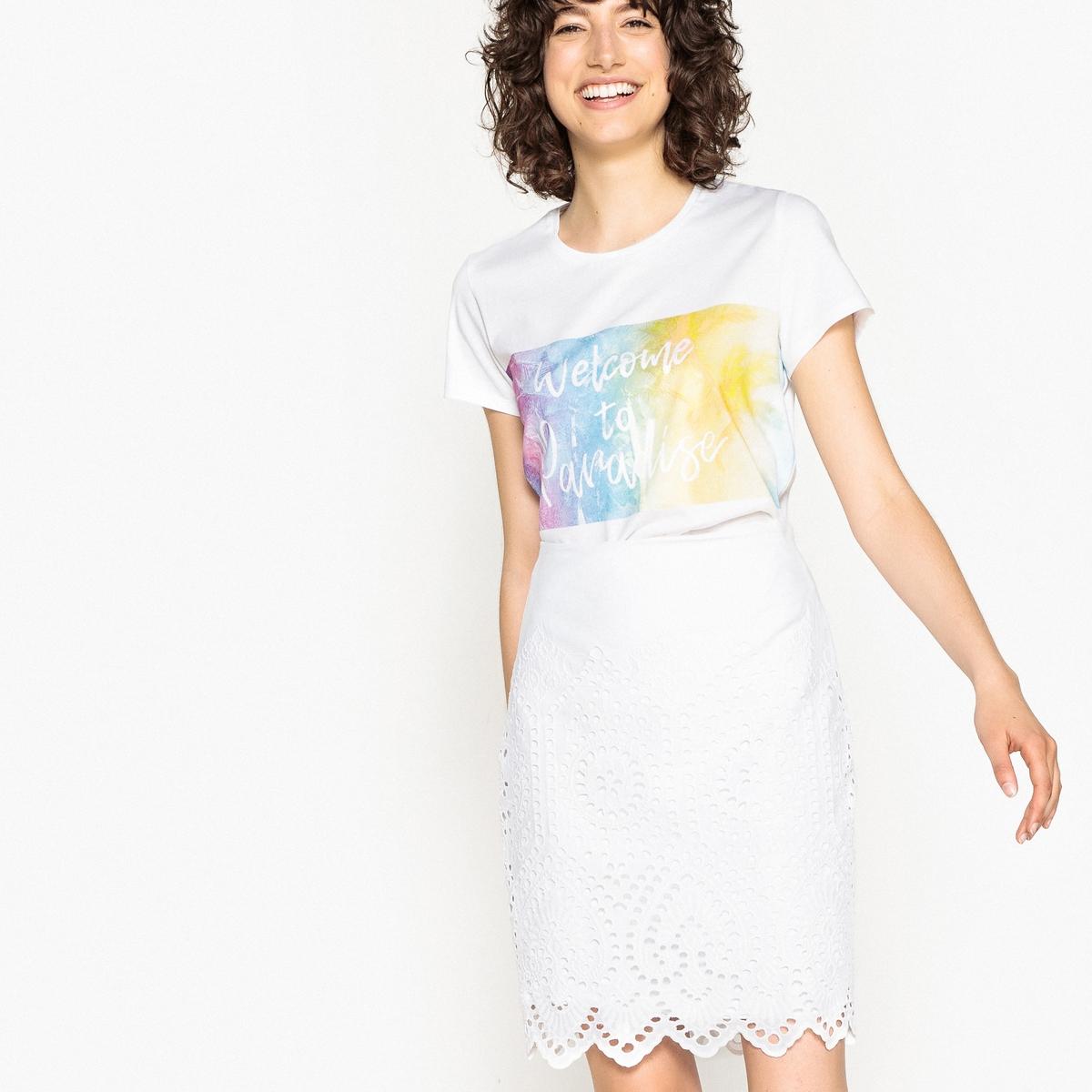Falda tubo, bordado inglés, semilarga