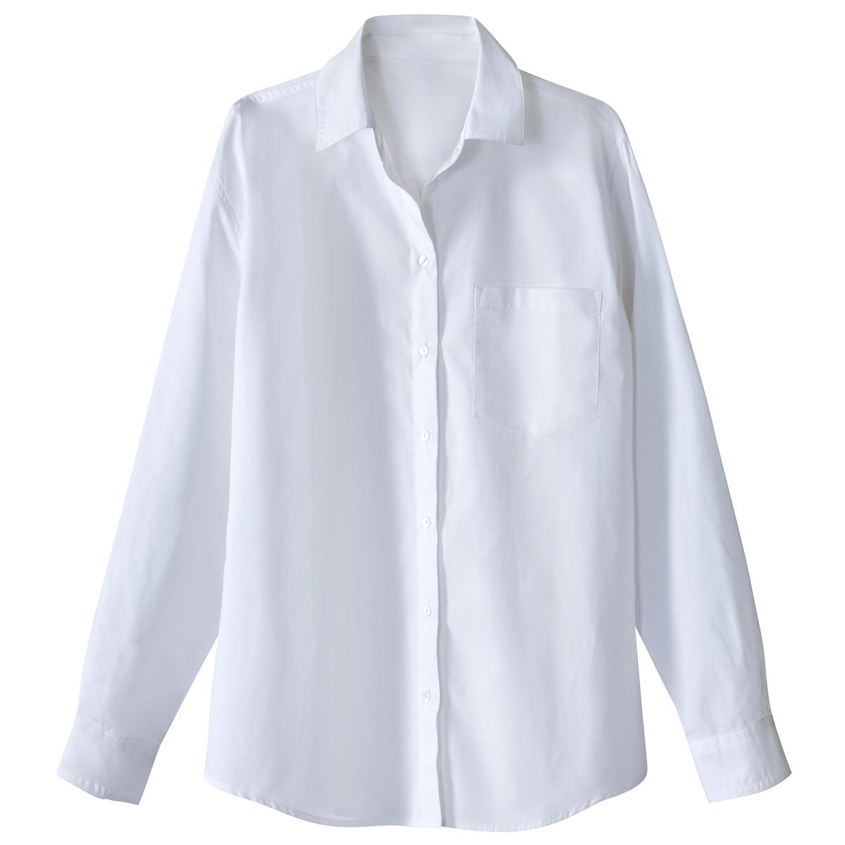 Рубашка из однотонного поплинаДетали •  Длинные рукава  •  Прямой покрой  •  Воротник-поло, рубашечный  •  Кончики воротника на пуговицах Состав и уход •  100% хлопок  •  Температура стирки 40°  •  Сухая чистка и отбеливание запрещены    • Барабанная сушка на умеренном режиме       • Средняя температура глажки<br><br>Цвет: белый<br>Размер: 42 (FR) - 48 (RUS).36 (FR) - 42 (RUS)
