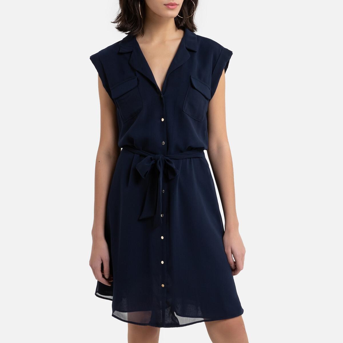 Платье-рубашка La Redoute С короткими рукавами расклешенное 36 (FR) - 42 (RUS) синий
