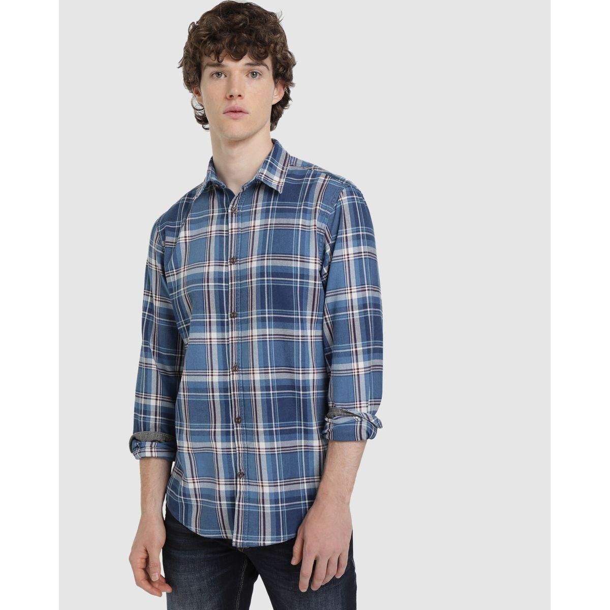 Chemise regular à carreaux indigo