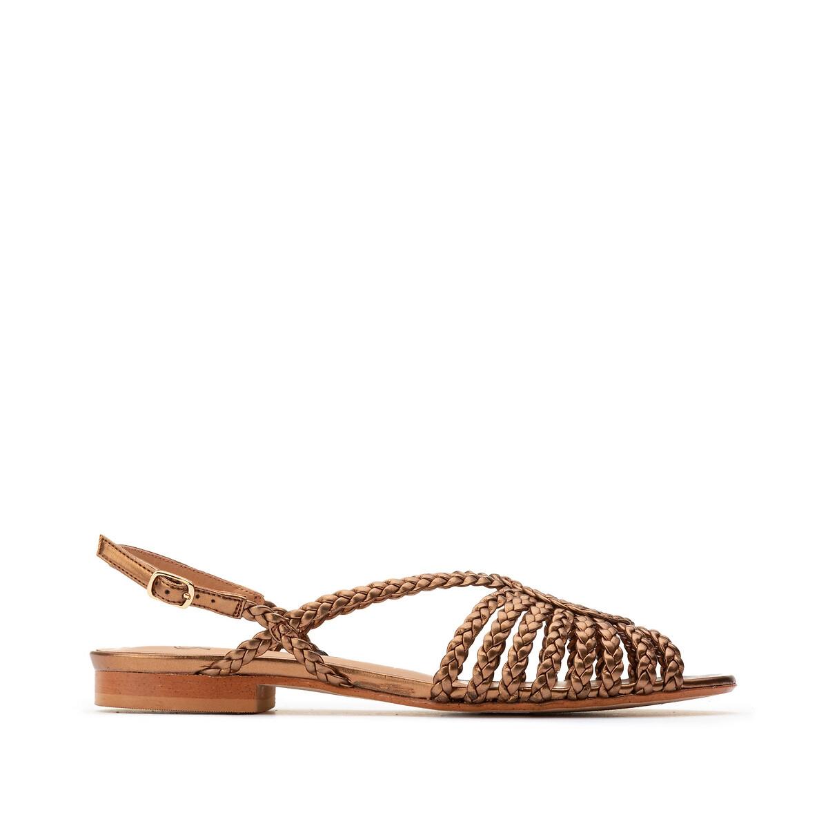 Sandalias trenzadas de piel