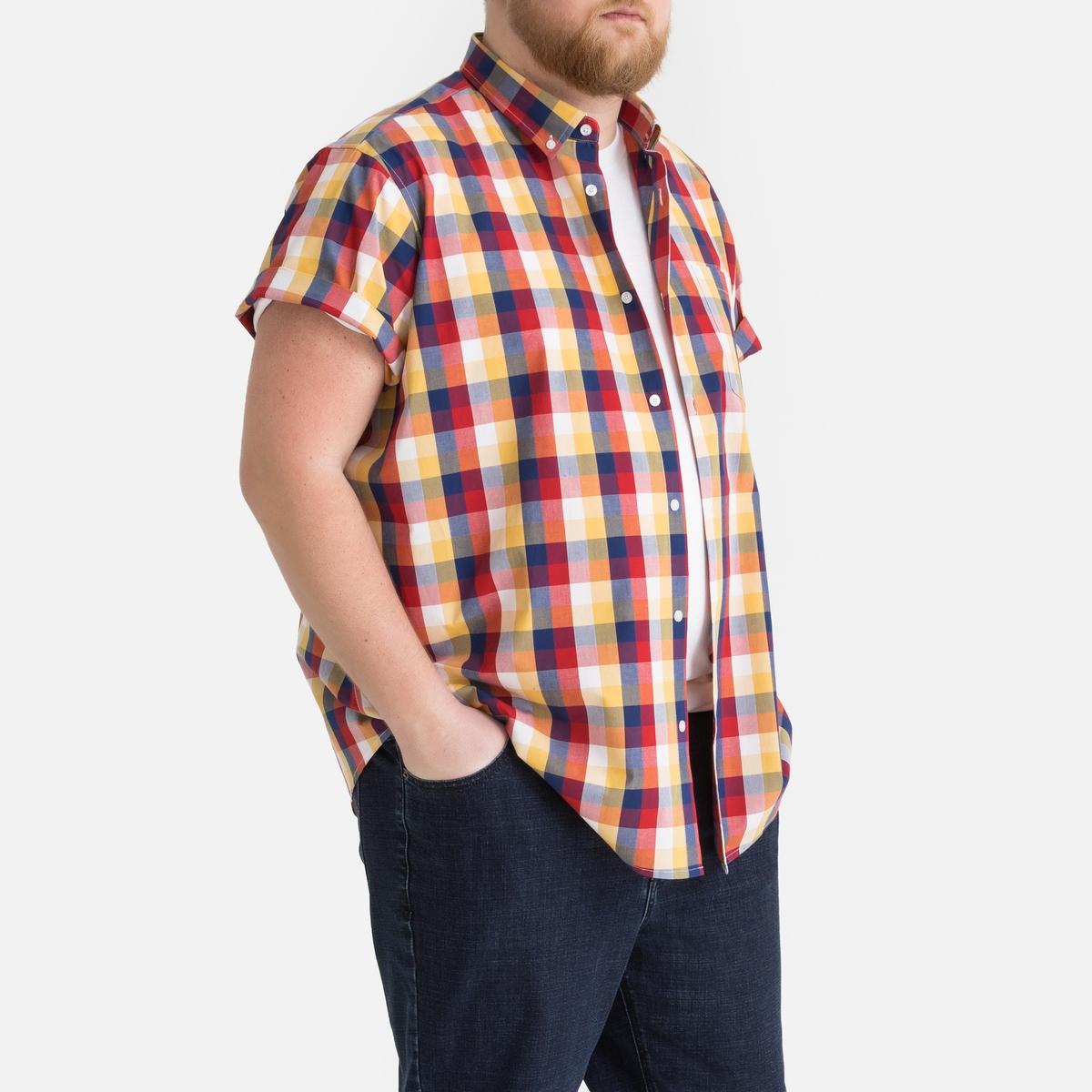 Рубашка La Redoute В клетку прямого покроя с короткими рукавами 51/52 синий рубашка la redoute прямого покроя в клетку с длинными рукавами 45 46 серый