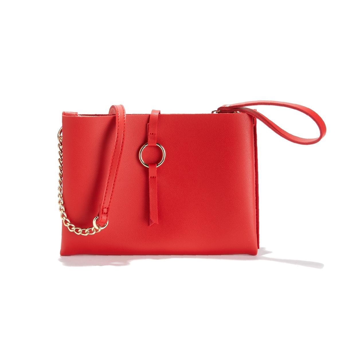 Сумка-клатч La Redoute С двумя отделениями UNI красный сумка клатч la redoute с помпонами uni черный